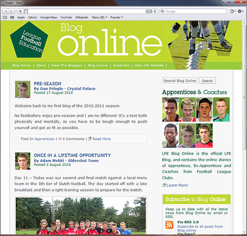 LFE launch Apprentice Blogs