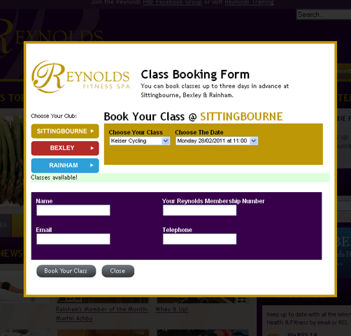 Reynolds Health and Fitness Booking Form